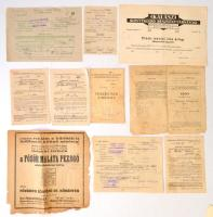 1930-1960 Vegyes régi nyomtatvány- és okmánytétel (számlák, fizetési meghagyások, táviratok, okmányok) / mixed lot of old Hungarian documents and printed materials