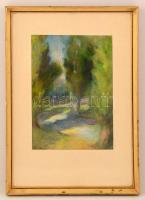 Németh Ágnes (?-): Nyárfák napsütésben. Pasztell, papír, jelzett, üvegezett keretben, 34×24 cm