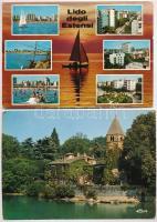 37 db MODERN külföldi városképes lap, szovjet lapok és Magyarországra küldött portós lapok / 37 modern Soviet and European town-view postcards