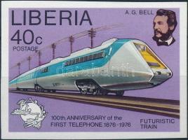 Centenary of Telephone set 1 imperforated value: Railway, 100 éves a telefon sor 1 vágott értéke: vasút