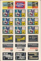 231 db német gyufacímke 11 db kartonlapra ragasztva (Volksbank, sparkasse, drogéria, élelmiszer, kirándulás..stb.)