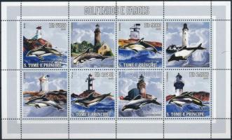 Dolphins and lighthouses mini sheet, Delfinek és világítótornyok kisív