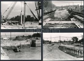 1976-1977 Budapest, Határ úti csomópont építkezés, 29 db vintage fotó, 9x13 cm