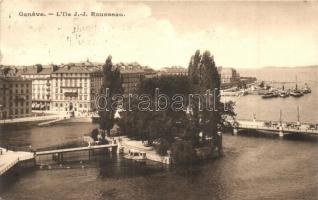 Geneva, Geneve; LIle J.-J. Rousseau / island, 1914 Centenaire de la Réunion de Geneve So. Stpl. (EK)
