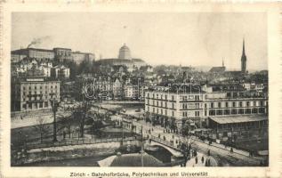 Zürich, Bahnhofbrücke, Polytechnikum und Universtitat / bridge, university, Hotel Central