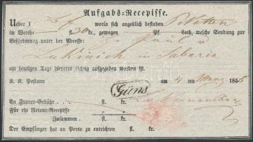 1856 Aufgabs Recepisse rendkívül ritka GÜNS bélyegzés