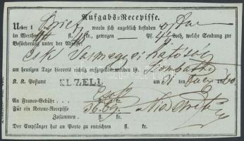 1860 Aufgabs Recepisse KL.ZELL
