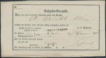 1858 Aufgabs Recepisse SZOMBATHELY