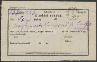 1874 Átadó vevény MURASZOMBAT VAS M