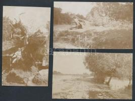 1915 Folyóparti életképek a Szerbia elleni hadjárat idejéből, 3 db feliratozva / riverside views during the Serbian campaign of World War I, 3 photos 6×11 cm