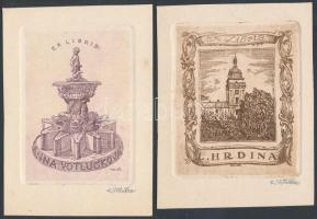 Karel Votlucka (1896-?):2 db ex libris Anna Votlucka, L Hrdina. Rézkarc, papír, jelzett, 9×7 cm, (2×)
