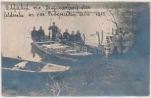 1915 Osztrák-magyar őrjáraton a Szerbia elleni hadjárat idején, feliratozva / Abfahrt zur Inspizierung der Feldwehr; Austro-Hungarian army during the Serbian campaign of World War I 9×14 cm
