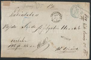 1871 Ex offo pénzeslevél SZOMBATHELY (E 3.25, Gudlin 500 pont)