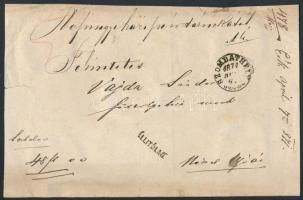 1871 Ex offo pénzeslevél SZOMBATHELY (E 3.25 Gudlin 500 pont)