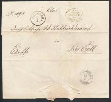 1856 Ex offo K.K. POST DIREKTION OEDENBURG + ODENBURG - KIS - CZELL