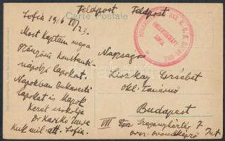 Postcard with seal of the Hughes telegraph station of the Austro-Hungarian Embassy, to Budapest, A szófiai osztrák magyar katonai atassé képeslapja  a szófiai osztrák-magyar követség HUGHES távíró állomásának bélyegzőjével Budapestre