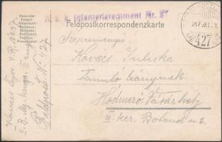 "Field postcard ""K.u.k. Infanterieregiment Nr.37"" + ""TP 427"", Tábori posta levelezőlap ""K.u.k. Infanterieregiment Nr.37"" + ""TP 427"""