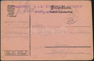 """Austria-Hungary Field postcard """"K.u.k. 2/14 B. FSARTKOMP"""" + """"FP 608"""", Tábori posta levelezőlap """"K.u.k. 2/14 B. FSARTKOMP"""" + """"FP 608"""""""