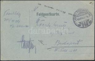 1918 Tábori posta levelezőlap / Field postcard HONVÉD GYALOG EZRED + TP 640