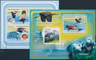 Marine wildlife minisheet + block, Tengeri élővilág kisív + blokk