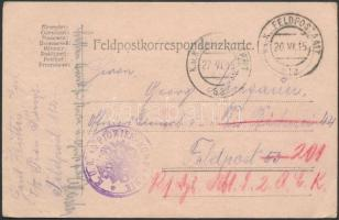 1915 Tábori lap tábori posta címre és továbbküldve FP 112