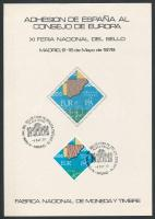 1978 Spanyolország csatlakozási az Európai Tanácshoz Mi 2368 emléklapon elsőnapi bélyegzéssel (törés)