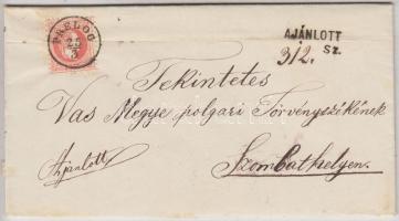 1869 5kr (regiszterhajtás) + (a hátoldalon) bontásnál széttépet 10kr ajánlott levélen PRELOG - NAGY-KANIZSA PÁLYA-UDVAR - SZOMBATHELY