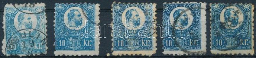 1871-1874 5 db Réznyomat 10kr eltérő színárnyalatokban / 5 x Mi 11 in colour varieties (vegyes minőség / mixed quality)