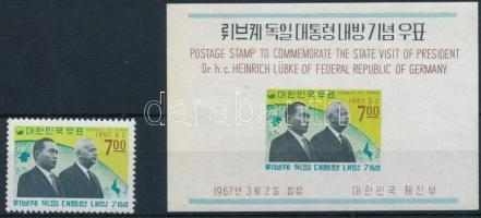 German president's visit hinged stamp + block, A német államfő látogatása falcos bélyeg + blokk