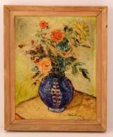 Olvashatatlan jelzéssel: Virágcsendélet. Olaj, farost, keretben, 50×40 cm