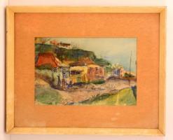 Olvashatatlan jelzéssel: Utca részlet. Akvarell, papír, üvegezett keretben, 23×34 cm