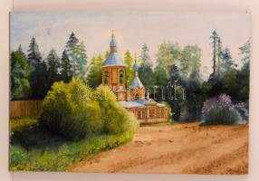 Olvashatatlan jelzéssel: Templom. Olaj, vászon, 40×59 cm