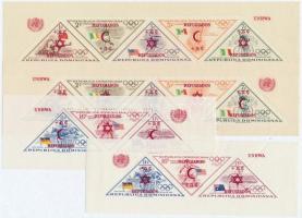 1958 Olimpia blokk sor felülnyomással Mi 13-16 A