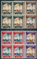 Colonial Exhibition, Naples set in blocks of 4 (2 stamp with gum distrubance) Gyarmati kiállítás, Nápoly sor négyestömbökben (2 bélyegen apró betapadás)