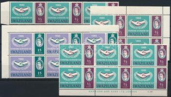 International cooperation 19 stamps (7 stamps hinged), Nemzetközi együttműködés 19 db bélyeg összefüggésekben (7 db bélyeg falcos)