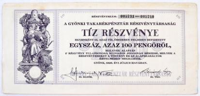 Gyönk 1926. A Gyönki Takarékpénztár Részvénytársaság tíz részvénye összesen 100P-ről, szelvényekkel, szárazpecséttel T:II,II- fo.