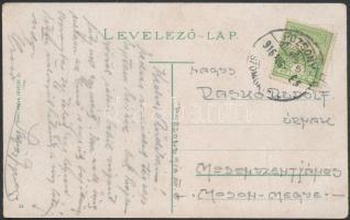1916 Képeslap POZSONY / SZOMBATHELY vasúti bélyegzéssel