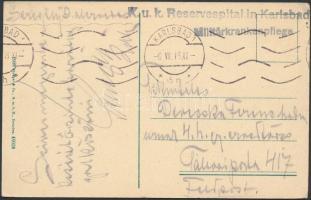 1918 Tábori posta képeslap K.u.k. Reservespital in Karlsbad