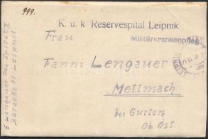 1918 Tábori posta levél K.u.k. Reservespital Leipnik