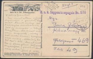 1918 Tábori posta képeslap K.u.k. Sappeurkompagnie No. 3/35 + FP 617
