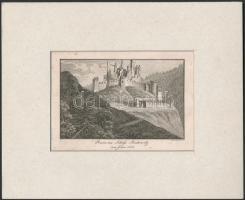 cca 1860 Leopold Müller(1834-1882): Ruine des Schloss Boskovitz vom Jahre 1814, metszet, jelzett a metszeten, restaurált, 12x15 cm