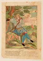 Martin Engelbrecht (cca 1700-1756): Damon, színezett metszet, restaurált, 30x19 cm