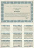 Budapest 1996. A City Kárpótlási Jegy Befektető Részvénytársaság 10db egyenként 1000Ft értékű részvénye, szelvényekkel (2x) sorszámkövetők T:II