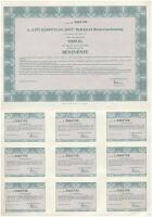Budapest 1996. A City Kárpótlási Jegy Befektető Részvénytársaság 1000Ft értékű részvénye, szelvényekkel (3x) sorszámkövetők T:II