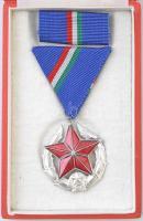 1969. Közbiztonsági Érem ezüst fokozata a rendőrség tagjai részére, zománcozott kitüntetés mellszalagon, szalagsávval, eredeti tokban + adományozói okirat, szárazpecséttel, kis szakadással T:2