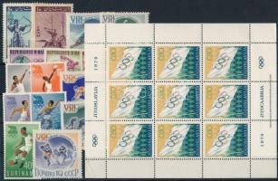 Olympics 1960-1970 3 sets + 3 stamps + 1 mini sheet, Olimpia motívum 1960-1970 3 klf sor + 3 klf önálló érték + 1 kisív