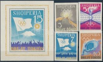 1964 Nyári olimpia vágott sor Mi 828-831 + fogazott blokk Mi 22