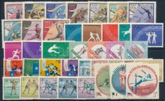 Olympics 1960-1965 10 sets + 2 stamps, Olimpia motívum 1960-1965 10 klf sor + 2 önálló érték 2 db stecklapon
