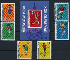 1980 Nyári Olimpia, Moszkva sor Mi 2877-2882 + blokk 101