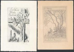3 db csehszlovák ex libris, kül. mélynyomás, papír (Jan Jakub Paroubek, Cyril Bouda, Ladislav Vlodek) 9×7 - 11×8 cm